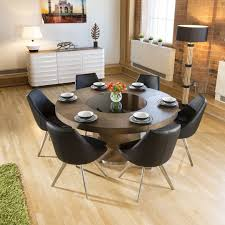 large elm wood circular 1 6m dining table 6 modern black chairs