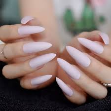 Light Pink Matte Nail Polish Us 1 76 20 Off Fashion Matte Nail Taro Purple Stiletto Frosted False Fake Nails Light Purple Pink Color Pointed Salon Press On Nail Art Tips In