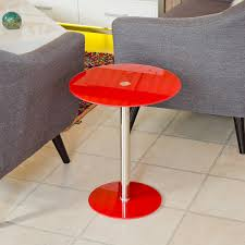 podium round red glass side table