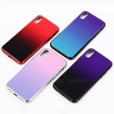 creative grant color tpu frame tempered glass phone back cover case for iphone x blue pc tpu