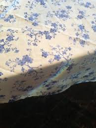 williams sonoma round tablecloth cherry blossom blue white cotton linen 90