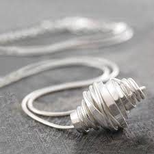 coiled sterling silver wire necklace