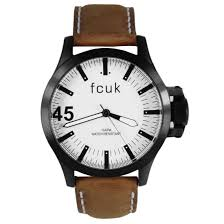 french connection fcuk mens leather watch fc1140t