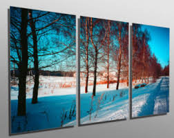 metal print winter snow 3 panel split triptych metal wall art printed on hd aluminum panels for home office decor interior design on metal wall art panels with metal art panels etsy