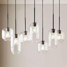 sculptural glass pebble 7 light chandelier mixed