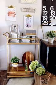 office coffee cart. Decorating A Shared Office, With Colorful Industrial Style. Her Side Is Pink And Gold Office Coffee Cart