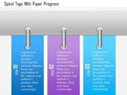 Busines Diagram Spiral Tags With Paper Progress Presentation