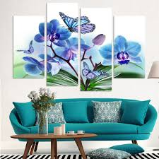 4 panels canvas blue orchid flower painting on canvas wall art picture home decor fou078 in painting calligraphy from home garden on aliexpress  on blue orchid canvas wall art with 4 panels canvas blue orchid flower painting on canvas wall art