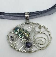 balance beaded wire abalone black pearl pendant necklace