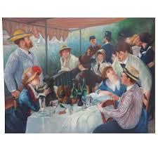 original impressionist boating party oil painting after renoir signed j sanz for