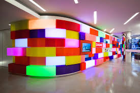 lego office. art in the workplace acrylicize brings colour and lego into office