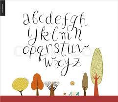 script alphabet volume 2 vector ilrated script font on white background with trees and a park bench stock vector colourbox