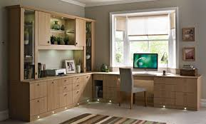 wooden home office. Office:Futuristic Home Office Decor With L Shape Wooden Desk Cabinet And  Stripped Rug Idea Wooden Home Office