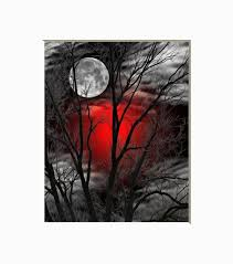 black white red wall art tree moon wall