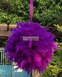Purple Balls For Decoration Feather Kissing Balls Pom PomsChandelle Feather Balls 2