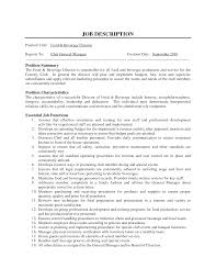 Examples Of Restaurant Job Description Duties Profesional Resume