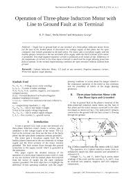 pdf operation of three phase induction motor with line to ground fault at its terminal