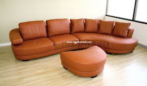 Living Room Sectional Furniture Burnt Orange Leather Sectional
