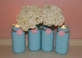 Blue Mason Jars Wedding Decor Light Blue Wedding Mason Jar Wedding Centerpiece Spring 72