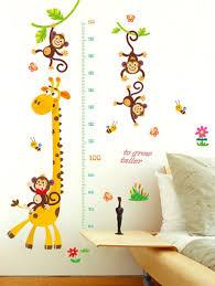 Giraffe Growth Chart Pattern Wall Stickers For Kids Room