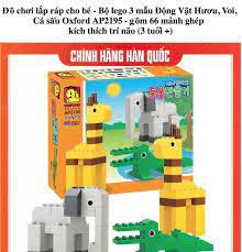 Đồ chơi lắp ráp cho bé - Bộ lego 3 mẫu Động Vật Hươu Voi Cá sấu Oxford  AP2195 - gồm 66 mảnh ghép kích thích trí não trẻ (3 tuổi +)