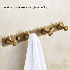 Antique Brass Coat Rack Simple Antique Brass Row Clothes Towel Hook Wall Mounted Robe Coat Hanger