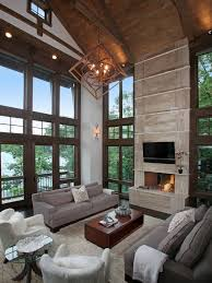 modern rustic lighting. Rustic Cafe Furniture Living Room With Wood Ceiling Wall Sconce Dark Trim Modern Lighting