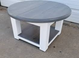 round farmhouse coffee table with gray