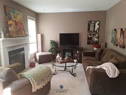 Benjamin Moore Weimaraner taupe paint colour in living room wtih brown  accents. Kylie M E