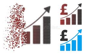 Uses Of Growth Chart Dispersed Pixel Halftone Pound Sales Growth Chart Icon Stock