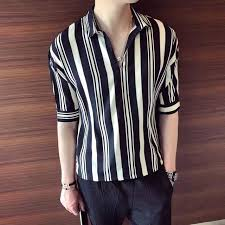 2018 <b>Summer</b> New <b>Men's</b> Solid Color Stripes Short-sleeved <b>Simple</b> ...