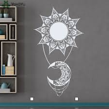 Moon Mandala Design Us 13 93 30 Off Bohemian Sun Moon Vinyl Wall Decal Indian Style Mandala Decals Home Decoration Accessories Natural Living Room Art Mural Syy285 In