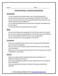 compare and contrast essay outline example how to write an apa compare contrast checklist acircmiddot kids writingacademic