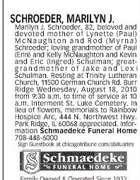 Obituary for MARILYN J. SCHROEDER (Aged 82) - Newspapers.com