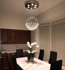 Over Table Lighting Noxarte Modern Sphere Style Rain Drop Crystal Chandelier