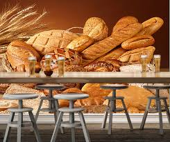 Bakery Wallpaperwheat With Bread3d Modern Mural Used For