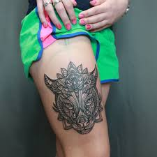 фото тату бык в стиле дотворк от мастера ольга воронкова