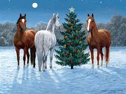 Christmas horses, Christmas paintings ...