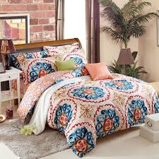 rust orange blue yellow and white tribal boho style exotic gypsy themed indian pattern multi color circle print full queen size bedding sets