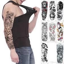 поддельные большой временный племенной полный рука татуировки для мужчин