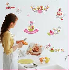 cupcake wallpaper for kitchen.  For Cartoon Dessert Cupcake Flowers Birds Wall Sticker Kitchen Tile Cabinet  Glass Window Decor Decal Removable And Wallpaper For A
