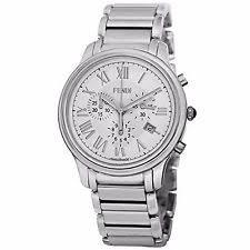 fendi watch fendi men s f252014000 classico white dial stainless steel chronograph watch