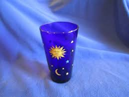 vintage libbey celestial cobalt blue glass tumbler sun moon star 1 of 10