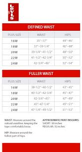 Levis Womens Size Chart Levis Defined Waist And Fuller Waist Plus Size Charts Via