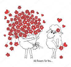 Couple Amoureux Deux Moutons Mignons Avec Gros Beau Bouquet De Beau Dessin De Coeur Photo Des Couple Amoureux L