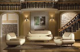 Two Tone Living Room Furniture Light Brown Beige Two Tone Leather 3pc Living Room Set 2812