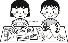 無料イラスト 夏の子供工作モノクロ