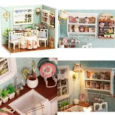 details about ogrmar wooden dollhouse miniatures diy house kit with cover and led light happin