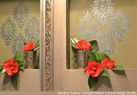 perfectly paisley a stenciled niche accent wall bathroom ideas painting wall decor on paisley wall art stencil with perfectly paisley a stenciled niche accent wall hometalk