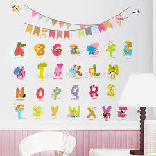 animal letters wall decals cartoon alphabet removable home decor kids room abc wall art stickers for